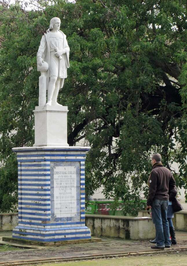 A statue of Columbus outside the Monasterio de Santa Mar'a de las Cuevas, where the explorer lived when planning his first voyage west. Photo: Spud Hilton, The Chronicle