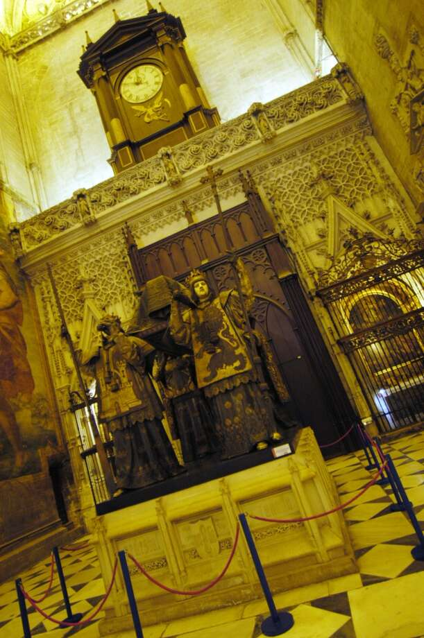 The elaborate tomb of Columbus takes up a niche in the Cathedral of Seville. Photo: Spud Hilton, The Chronicle