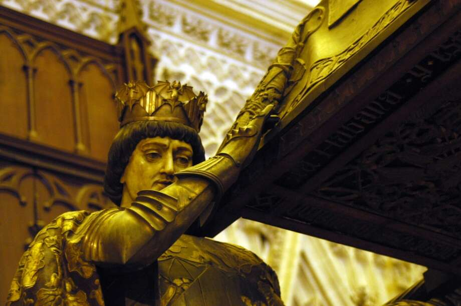 One of the pallbearers in the elaborate tomb of Columbus in the Cathedral of Seville. Photo: Spud Hilton, The Chronicle