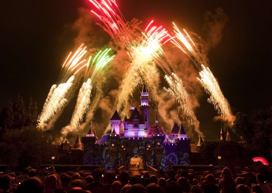 Spectacular Fireworks: Every night at Disneyland, fireworks burst high above Sleeping Beauty Castle. Photo: Scott Brinegar, Scott Brinegar / Disney