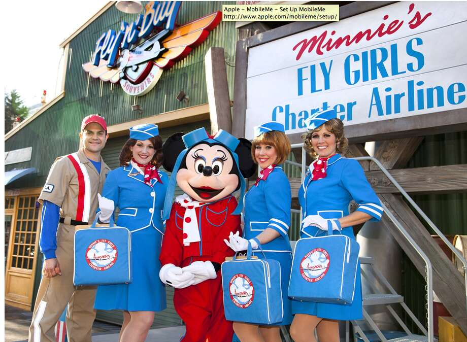 Minnie's Fly Girls Charter Airline: Minnie and her crew offer a tune-filled 'travelogue' of song and dance at Condor Flats in California Adventure. Photo: Disney