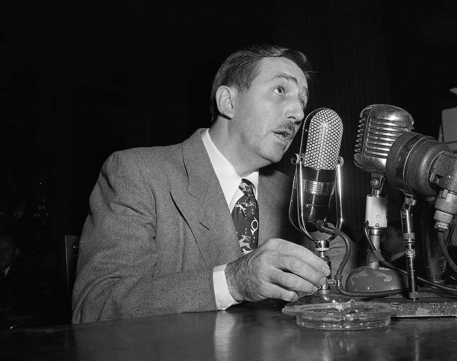 Oct. 24, 1947:Walt Disney was a staunch anti-communist and was among first to give testimony to Sen. Joseph McCarthy's House Un-American Activities Committee in 1947, playing a role in the Hollywood blacklist. Photo: ASSOCIATED PRESS / AP1947
