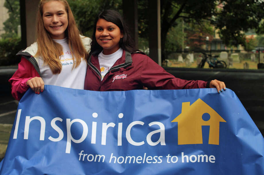 St. Lukeís students Marissa Rushchil and Elizabeth Guillen were co-chairmen of the One Step Closer to Home Walk-A-Thon which benefited Inspirica in Stamford. Photo: Contributed Photo / New Canaan News