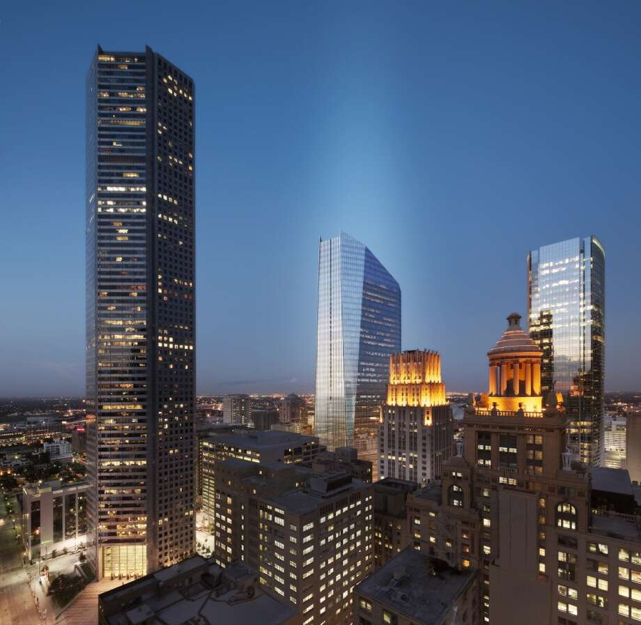 This image shows another view of 609 Main within the downtown Houston skyline. Photo: Courtesy Of Hines