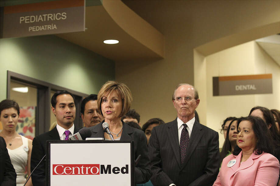 City Manager Sheryl Sculley speaks at the first day of open enrollment for health insurance at CentroMed Wellness Center earlier this month. Photo: San Antonio Express-News
