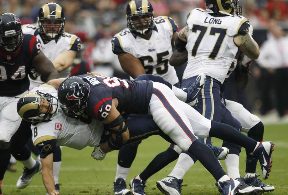 Week 6: Rams 38, Texans 13  Texans defensive end J.J. Watt (99) hits Rams quarterback Sam Bradford (8). Photo: Brett Coomer, Houston Chronicle