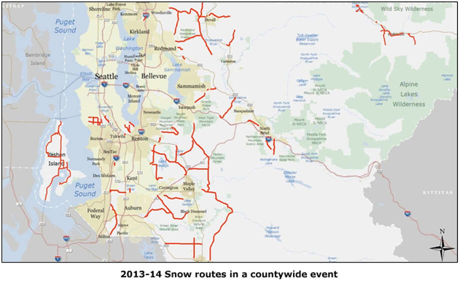 King County will only plow one-third of the roads it has in recent years in the event of snow. Compare this image to the next one, showing the snow routes set in 2010. Image courtesy King County