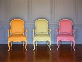 A trio of chairs from Sandra Jordan's personal collection are upholstered in alpaca from her textile line; the three colors Daybreak, Sunshine and Sunset were released in 2012. The chair frames were painted to match the alpaca, resulting in a fresh use of the fiber, whose use in decorating is on the rise.
