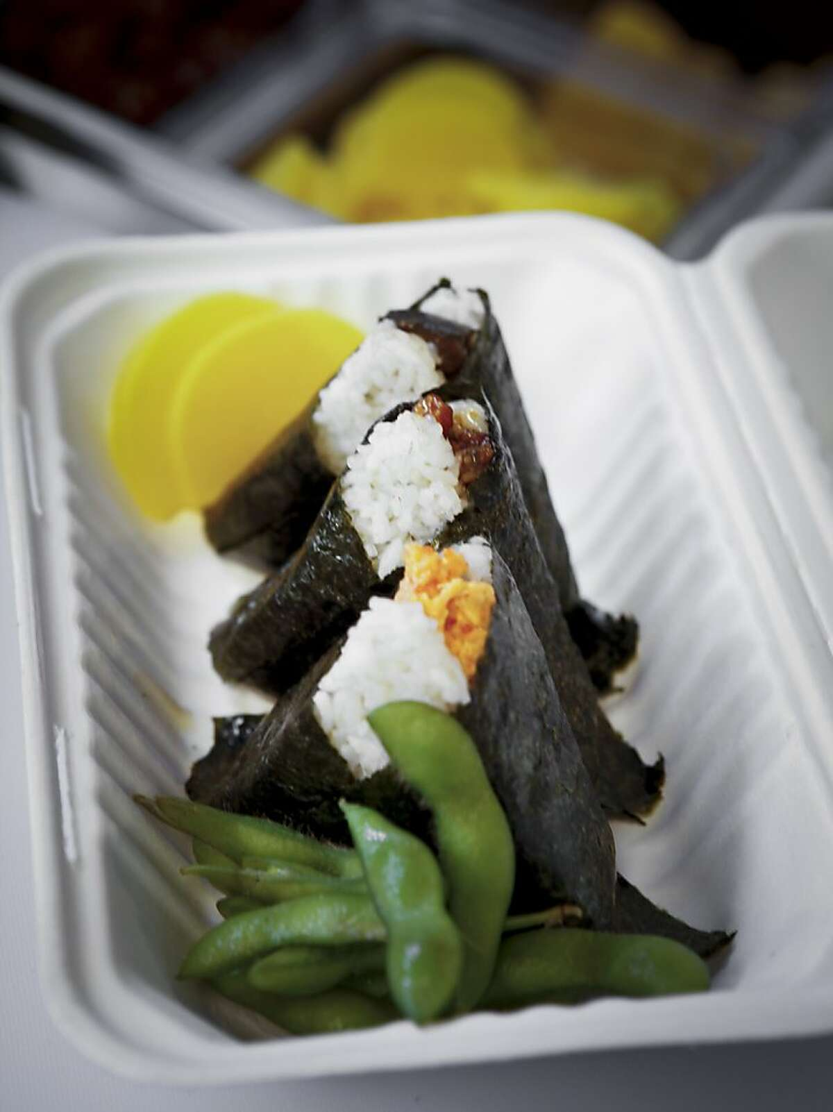 An onigiri set is seen at Onigilly on Monday, Oct. 7, 2013 in San Francisco, Calif.