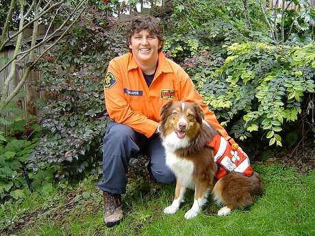Leah Waarvik and her Australian Shepherd Emma volunteer for Alameda County Search and Rescue.