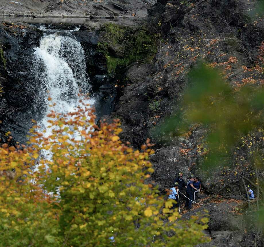 Three RPI students were rescued from the Poestenkill Gorge without injury Monday afternoon, Oct. 14, 2013, in Troy, N.Y. They were stranded on the side of the path.  All were given tickets for their trespass into the restricted area of the gorge in the Mt. Ida section of Troy.  (Skip Dickstein/Times Union) Photo: SKIP DICKSTEIN