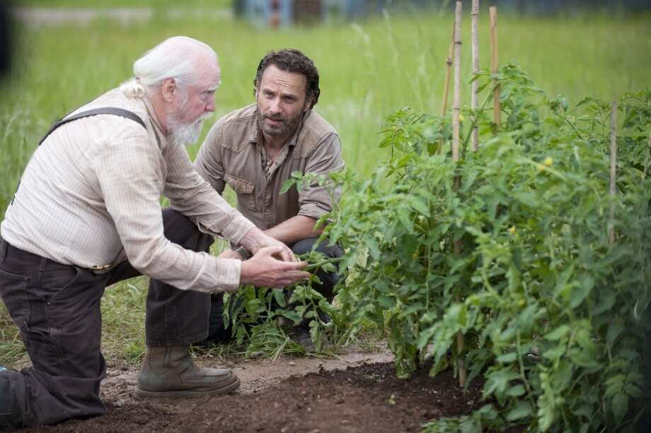 Hershel Greene (Scott Wilson) and Rick Grimes (Andrew Lincoln) - The Walking Dead _ Season 4, Episode 1 - Photo Credit: Gene Page/AMC
