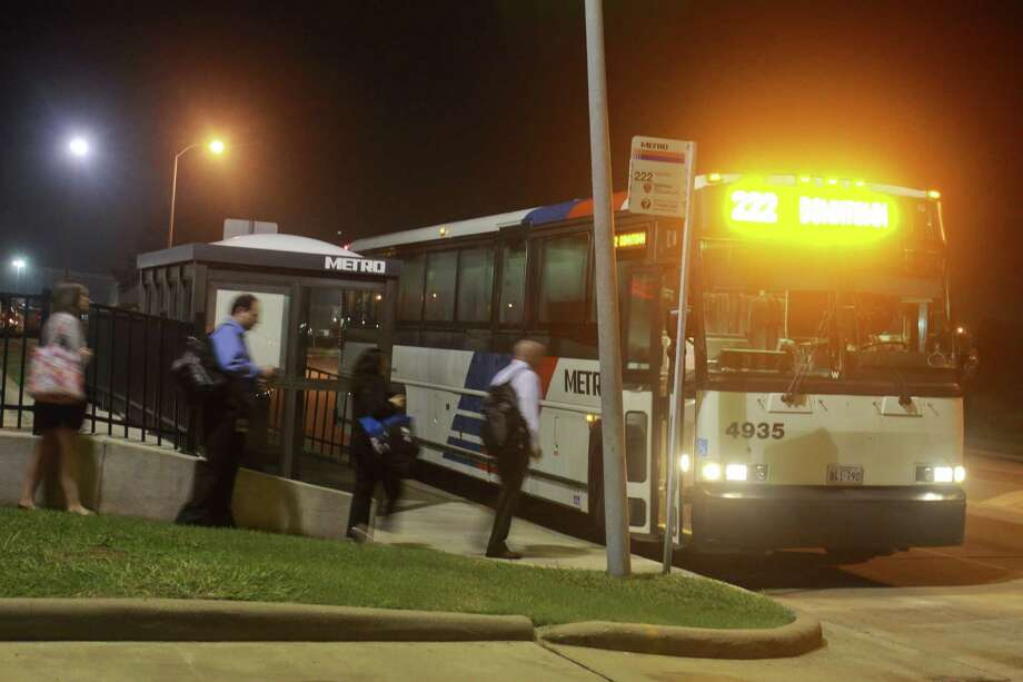 Ridership at the Grand Parkway park and ride location served by Metropolitan Transit Authority buses is up about 700 boardings per week, officials say. That's a 15 percent jump since a $2 price increase went into effect. Photo: Gary Fountain, Freelance / Copyright 2013 Gary Fountain.
