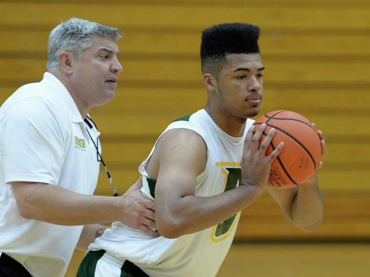 Javion Ogunyemi works out with coach Jimmy Patsos during Siena Men's basketball practice Oct. 10, 20