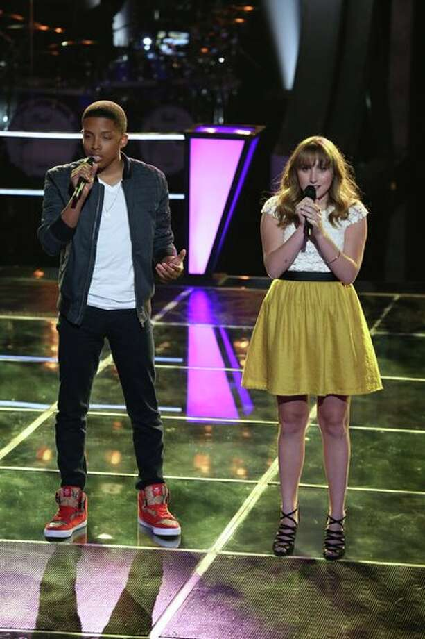 "THE VOICE -- ""Battle Rounds"" Episode 507 -- Pictured: (l-r) Anthony Paul, Caroline Pennell  -- (Photo by: Justin Lubin/NBC) Photo: Justin Lubin/NBC / 2013 NBCUniversal Media, LLC"