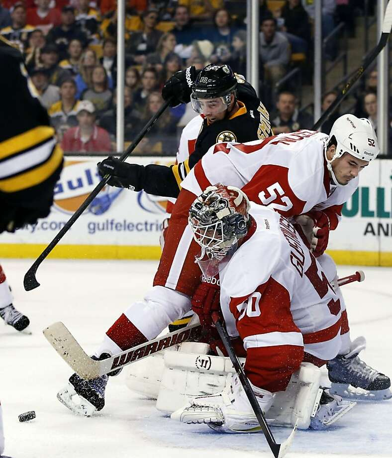 Red Wings goalie Jonas Gustavsson stopped 28 shots to beat the Bruins. Photo: Elise Amendola, Associated Press