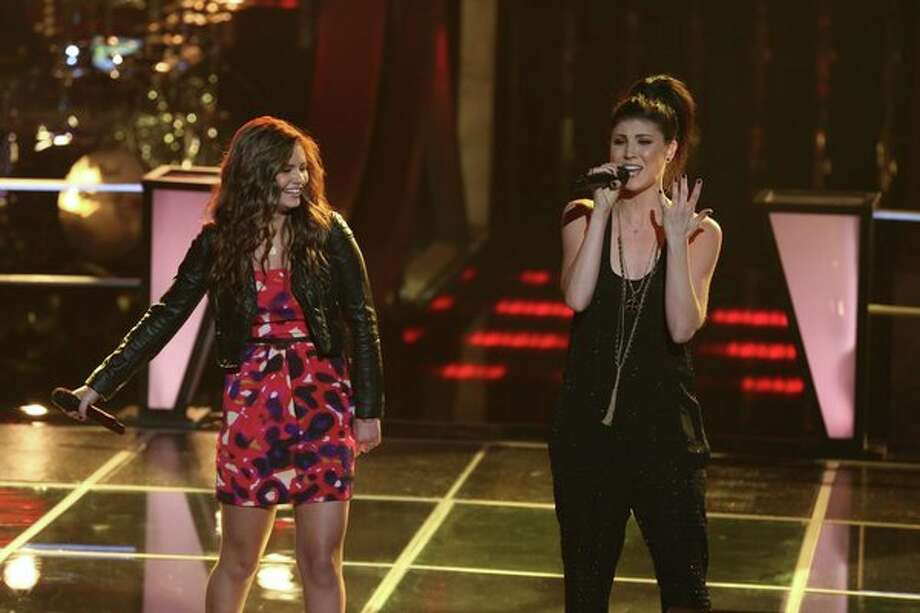"THE VOICE -- ""Battle Rounds"" Episode 507 -- Pictured: (l-r) Jacquie Lee, Briana Cuoco -- (Photo by: Justin Lubin/NBC) Photo: Justin Lubin/NBC / 2013 NBCUniversal Media, LLC"