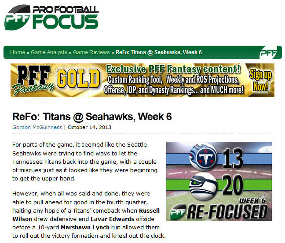 "Pro Football Focus  In grading the Seahawks, Pro Football Focus writer Gordon McGuinness had an easy choice for his player of the game. ""The longer the game went on, the more the Seahawks went to Marshawn Lynch and it was as they did that the game really started to turn in their favor,"" McGuinness wrote. ""The lone blemish on his day was his fumble on first-and-goal with 13:05 left in the game, but that he can still finish with as high a grade as he did tells you just how well he was playing on the rest of his snaps."" Photo: Screenshot, ProFootballFocus.com"