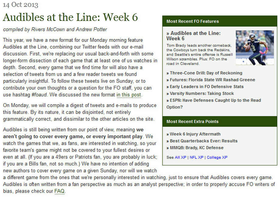 """Football OutsidersIn Football Outsiders' weekly """"Audibles at the Line"""" feature, analyst Tom Gower wrote that the final 20-13 score is not representative of Sunday's game. """"Offensively, Seattle looked how I thought they'd look, except for the surprising ball security issues,"""" Gower wrote. """"If not for Steve Hauschka's injury, which resulted in the botched hold and fumble giving the Titans the long fumble return touchdown at the end of the first half, this is the sort of 23-6 game I was expecting."""" Photo: Screenshot, FootballOutsiders.com"""