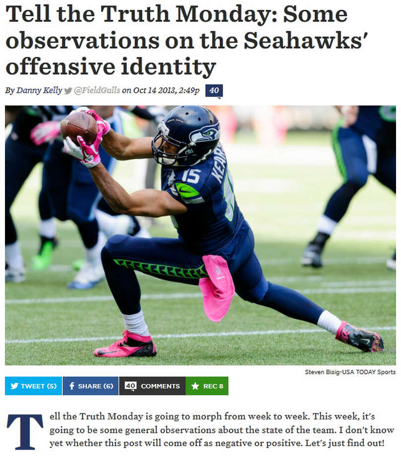 """SB Nation's Field GullsOver on Field Gulls, blogger Danny Kelly posted a long analysis of Seattle's offense against both Indianapolis and Tennessee. """"The offense looked clunky at times. We're still waiting for it to hit on all cylinders,"""" Kelly wrote. """"Overall, I think that the bones are there and things are getting better, not getting worse, but there is still a lot of tinkering to do."""" Photo: Screenshot, FieldGulls.com"""