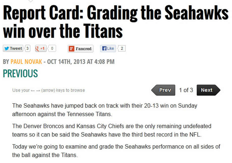 "Emerald City Swagger  On Fansided's Emerald City Swagger blog, affiliated with Sports Illustrated, writer Paul Novak gave ""B"" grades to both Seattle's offense and defense. Special teams? Not so much. ""Typically special teams doesn't get much written about them,"" Novak wrote, ""but this game had some interested moments."" Understatement of the day. Photo: Screenshot, EmeraldCitySwagger.com"