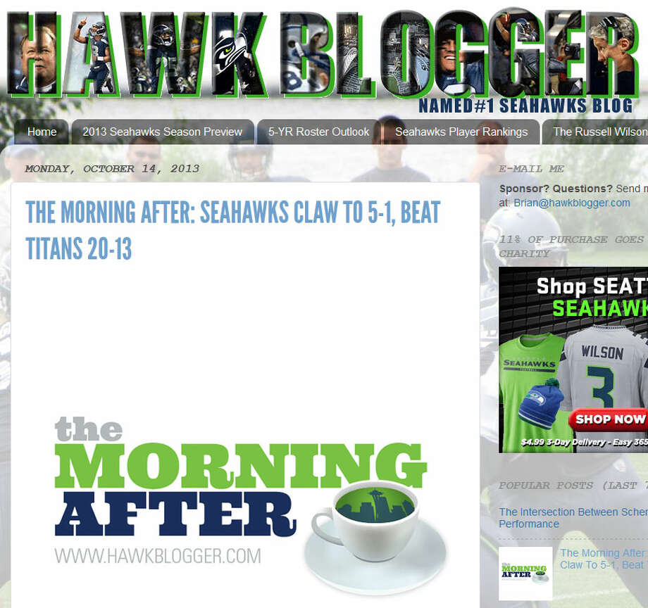 "HawkBlogger  In his weekly ""The Morning After"" feature, HawkBlogger writer Brian Nemhauser took a wider view of Sunday's win in context with Seattle's performances all season. ""This is a great team playing like a good one right now,"" Nemhauser wrote. ""It's time to shed the Clark Kent costume and let the 'S' on their chests show."" Photo: Screenshot, HawkBlogger.com"