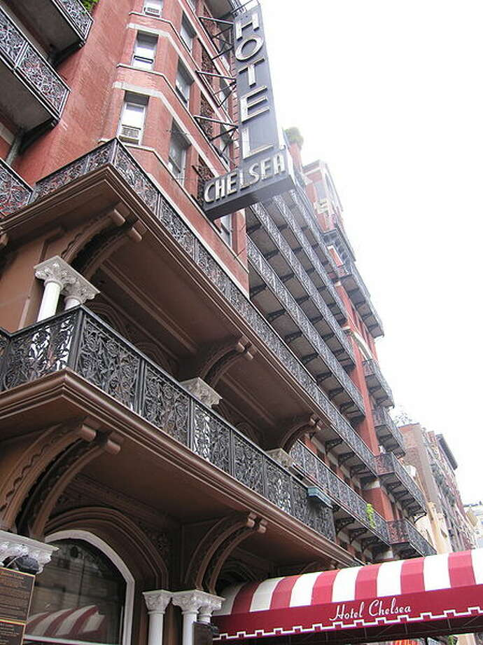 The Chelsea Hotel in New York City, built in 1884. Guests claim to have seen such literary ghosts as Dylan Thomas and Eugene O'Neill gliding through the hallways. Photo: Historystuff2 Via Wiki Commons