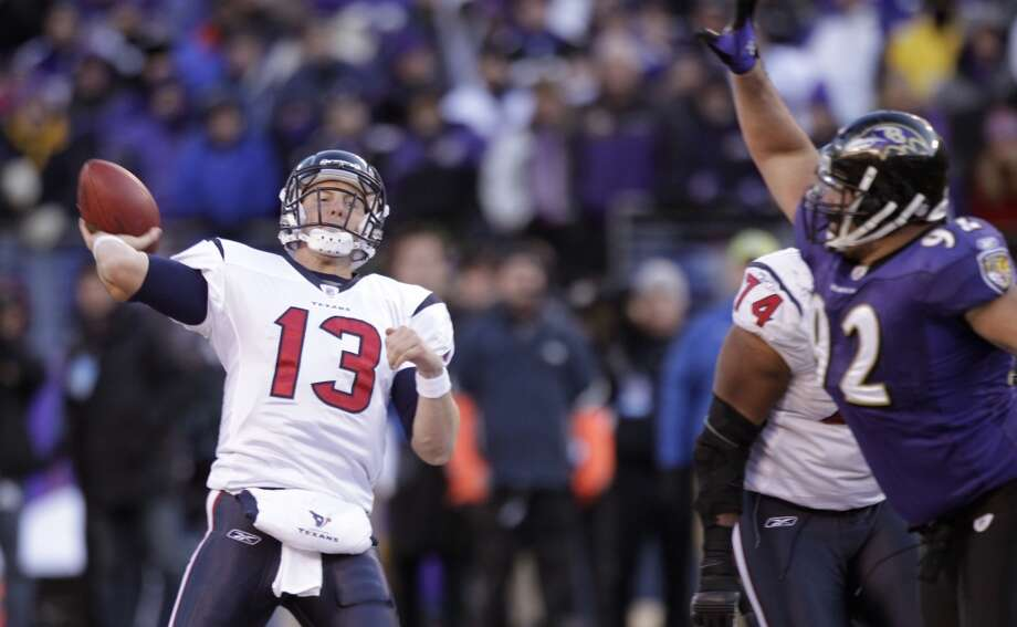Texans quarterback T.J. Yates attempts a pass during a 2012 playoff game against the Ravens in Baltimore. Photo: Brett Coomer, Houston Chronicle