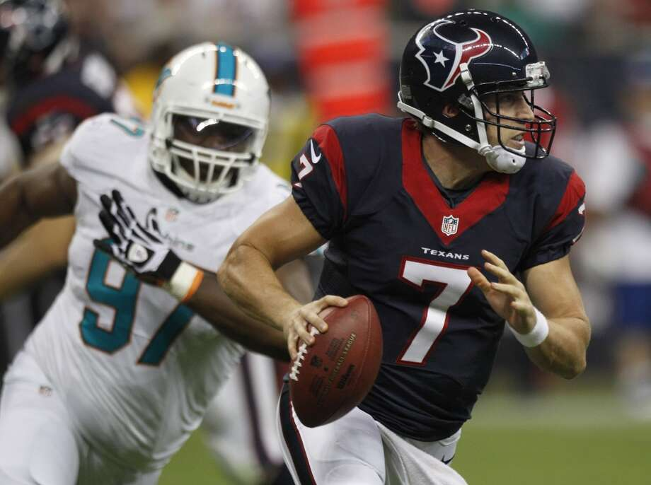 Case Keenum during a Texans' preseason game against the Dolphins. Photo: Brett Coomer, Houston Chronicle