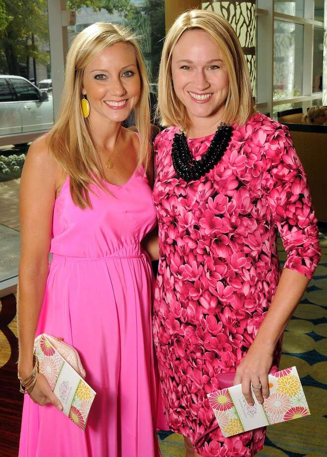 "Jena McCrann and Carrie Tucker at the 13th annual ""The Pink of Health"" luncheon benefitting Memorial Hermann at the Woodlands Waterway Marriott Friday Oct. 11,2013.(Dave Rossman photo) Photo: For The Houston Chronicle"