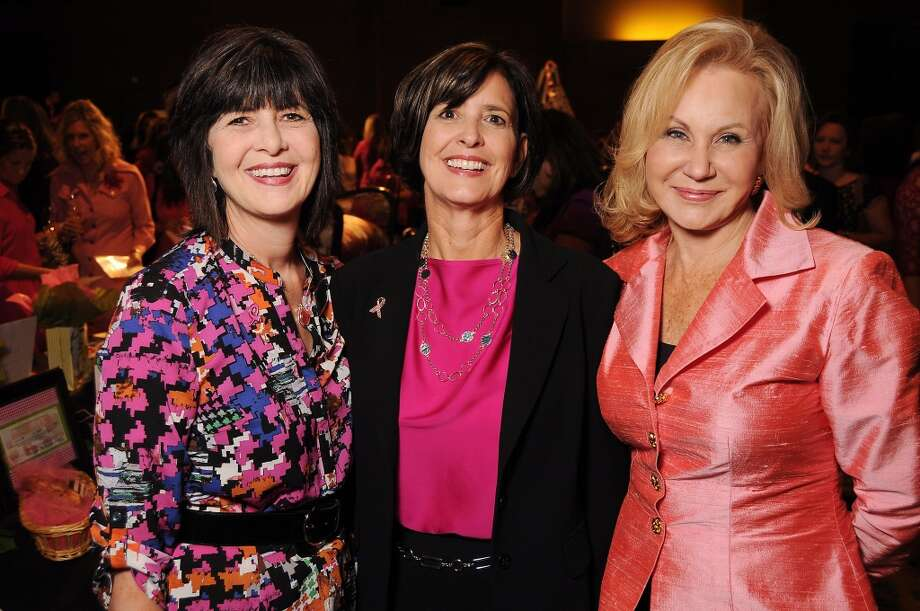"From left: Janet Caskey, Sue Gold and Donna Shipwash at the 13th annual ""The Pink of Health"" luncheon benefitting Memorial Hermann at the Woodlands Waterway Marriott Friday Oct. 11,2013.(Dave Rossman photo) Photo: For The Houston Chronicle"