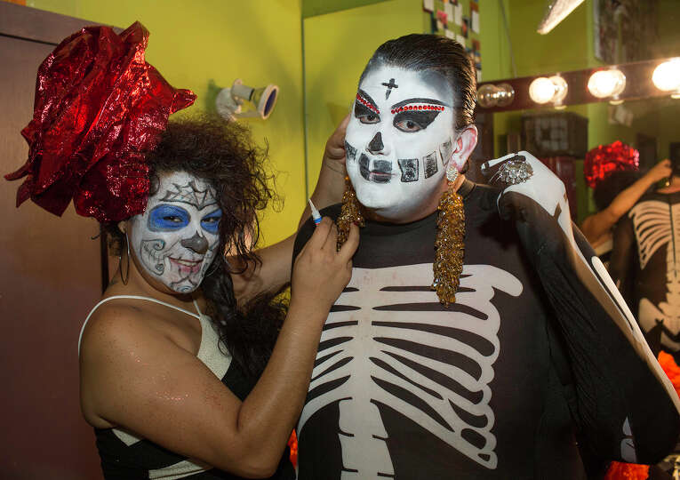 From the left, Jessica Zuniga and host Rene Roberts at Rene Roberts' 3rd Annual Dia De Los Muertos B