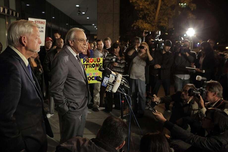 Federal mediator George Cohen addresses the media Tuesday, before BART talks broke down. Photo: Carlos Avila Gonzalez, The Chronicle