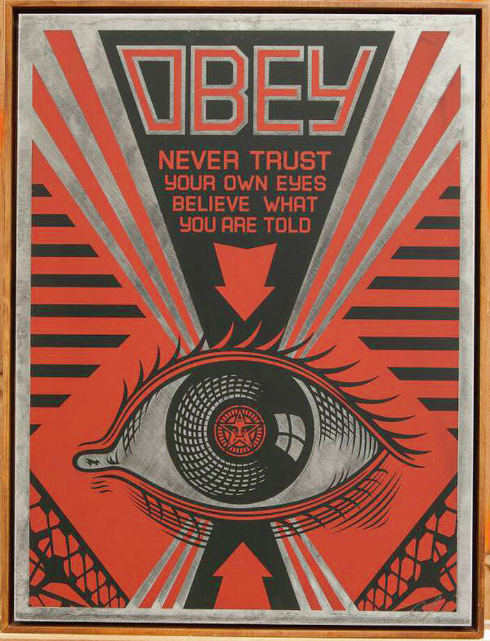 """Obey Eye,"" a screen print on metal by reknown street artist Shepard Fairey, is on view in an exhibition of the artist's work at the Samuel Owen Gallery in Greenwich. Photo: Contributed Photo / Connecticut Post Contributed"