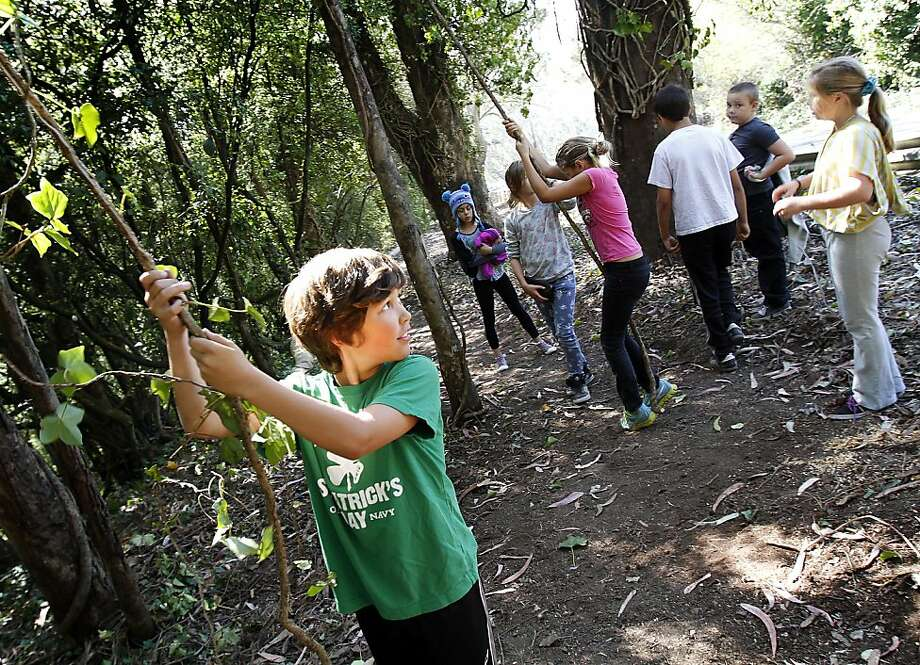 Eoin Newby, 10, of San Francisco plays with ivy while hiking with his after-school program along the new Portola Trail, which takes pedestrians off busy, narrow Twin Peaks Boulevard. Photo: Sarah Rice, Special To The Chronicle