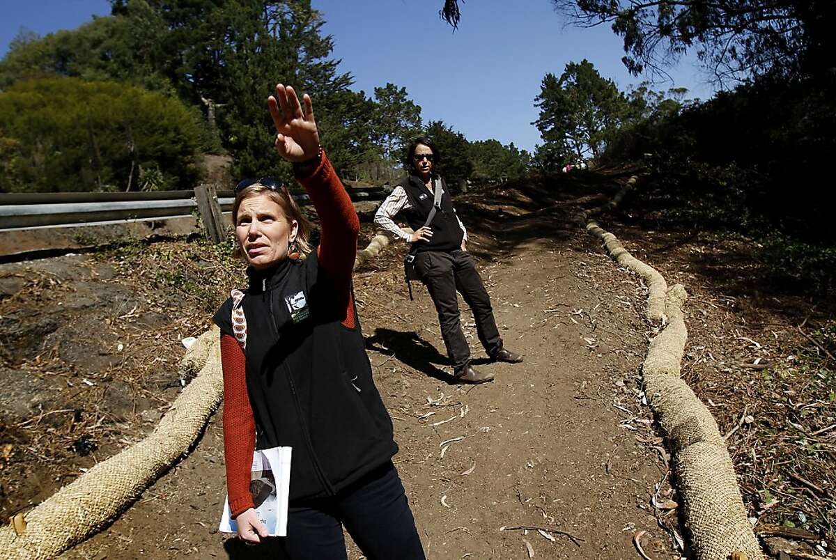 Melinda Stockmann, left, and Lisa Wayne of San Francisco Recreation and Parks talk about the clearing that was done to make the new trail that leads up Twin Peaks Boulevard in San Francisco, Calif., on Thursday, October 10, 2013.
