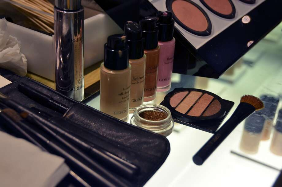 The golden smoky eye products at Giorgio Armani including Eyes to Kill Cream Eye Shadow in #5 and Eye Quad #10.