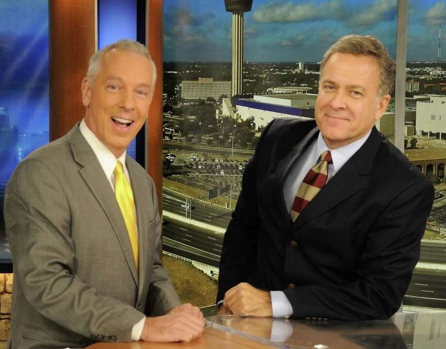 WOAI-TV news personalities John Gerard and Randy Beamer were lighthearted during the weather. Photo: Courtesy Randy Beamer