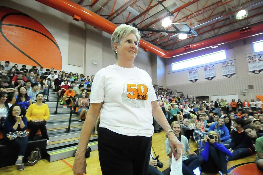 Sally Griffin, who has taught at Memorial Middle School for 45 years, is recognized during the school's 50th anniversary celebration. Photo: Â Tony Bullard 2013, Freelance Photographer / © Tony Bullard & the Houston Chronicle