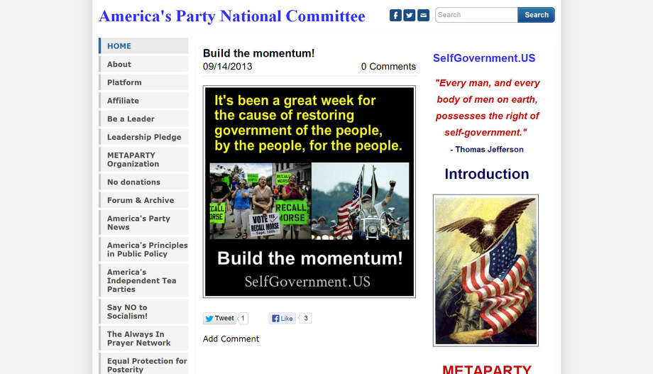 America's Party, originally founded in 2008 as America's Independent Party, is a conservative political party that is calling for the repeal of the sixteenth and seventeenth amendments in the U.S. Constitution in favor of a more visible and efficient tax. Party chair Tom Hoefling was the party's 2012 candidate for the presidential elections.Source: America's Party