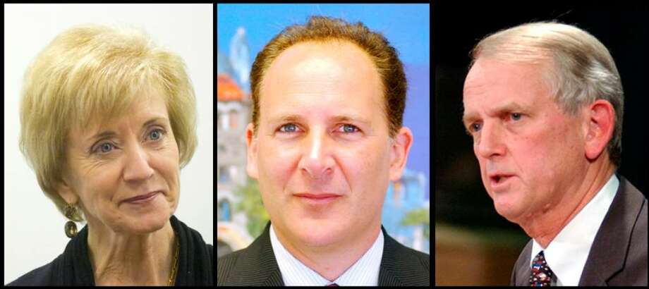 Republican candidates for U.S. Senate, left to right, Linda McMahon, Peter Schiff and Rob Simmons. Photo: File Photo / Stamford Advocate File Photo
