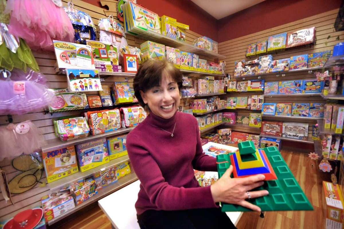 Debbie Zeldis, holding Wedgits Building Blocks, a hot new toy, in her Southbury business,Toy Journey, on Friday, Jan.22,2010.