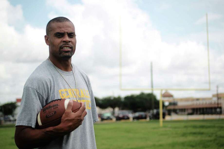 Daryl Hobbs, a former NFL receiver is the new head football coach for the Lee HS football team Monday, July 9, 2012, in Houston.  Hobbs played for the Oakland Raiders, New Orleans Saints and Seattle Seahawks. Lee just started up it s football team again two seasons ago after several years without one. The school is known for its international population- 40 different languages are spoken.( Johnny Hanson / Houston Chronicle ) Photo: Johnny Hanson, Staff / © 2012  Houston Chronicle
