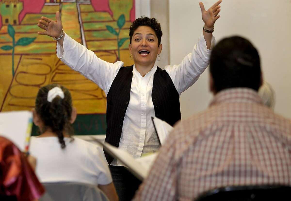 Marta Rodriguez-Salazar directs the Community of Voices choir at Mission Neighborhood Center.
