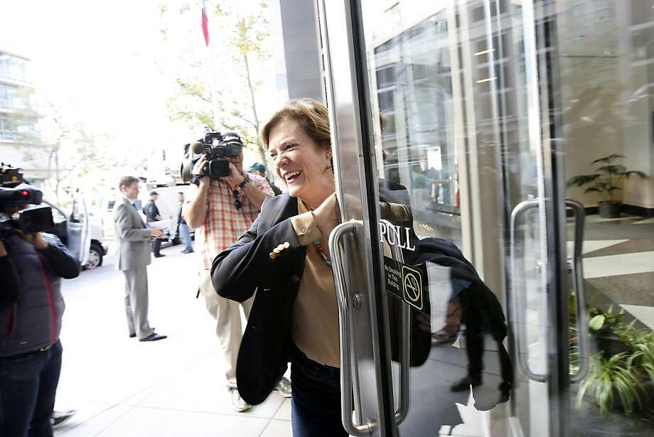 SEIU chief negotiator Josie Mooney gives a brief statement to reporters as she heads back to the BART bargaining table. Photo: Michael Short, The Chronicle
