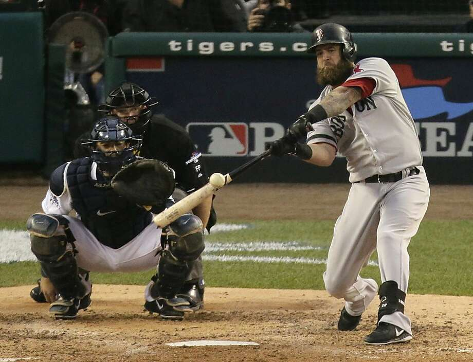 Mike Napoli's seventh-inning homer off Justin Verlander helped lift Boston to a 2-1 series lead. Photo: Charlie Riedel, Associated Press