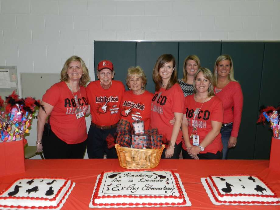 Front, from left, Susan Parks, Jim Exley, Jo Ella Exley, Juli Noeldner and Linnea Griffith; back, Jennifer Zebold and Elizabeth Kuylen celebrate at Jo Ella Exley Elementary School. Photo: Provided By Jo Ella Exley Elementary School
