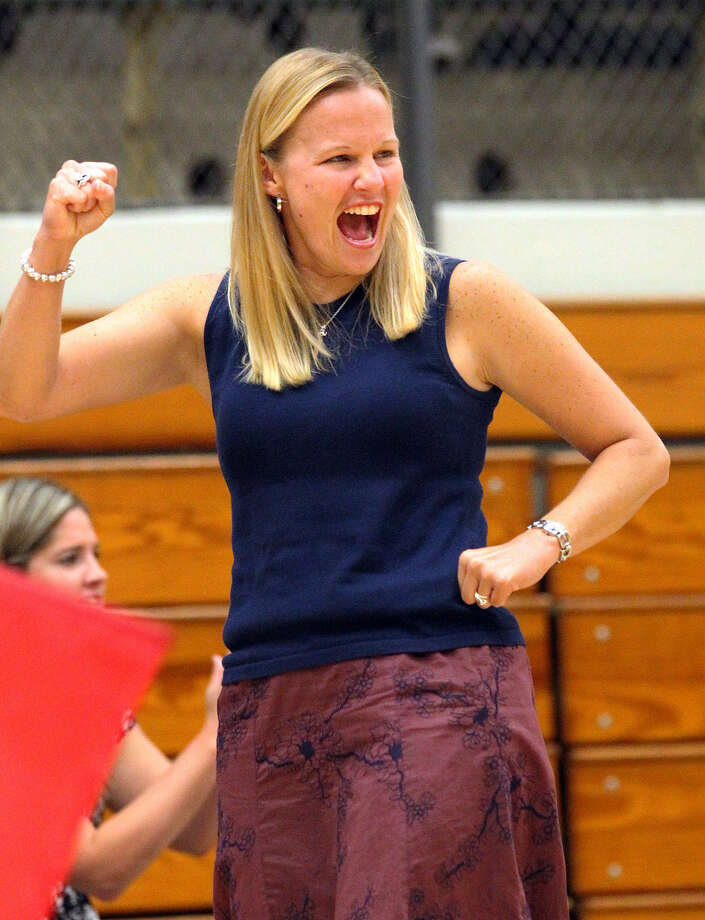 """Brandeis volleyball coach Madeline Williams during a September game. """"I focus on what we need to get done, and the rest will take care of itself."""" Photo: Kin Man Hui /"""