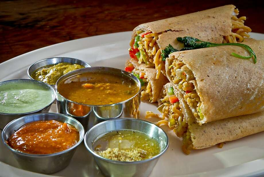 Dosa Republic's Tangra Dosa, with Hakka Indian street noodles and cauliflower or chicken. Photo: John Storey