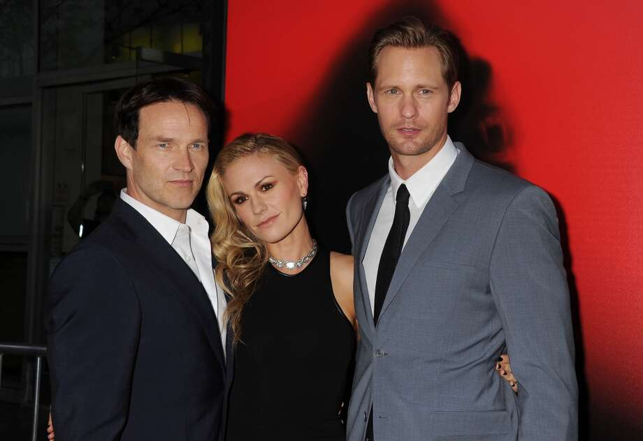 "Alexander Skarsgard, right,  has been an oft-mentioned contender for the role of Christian Grey. He's pictured with ""True Blood"" co-stars Stephen Moyer, left, and Anna Paquin, center, in 2013. Photo: Jeffrey Mayer, WireImage"
